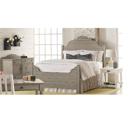 Magnolia Home Furniture Gray  White 5 Piece King Bedroom Set Traditional
