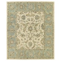 5 x 8 Medium Traditional Wool Ivory and Green Area Rug - Solomon