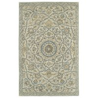 5 x 8 Medium Traditional Wool Ivory and Blue Rug - Solomon