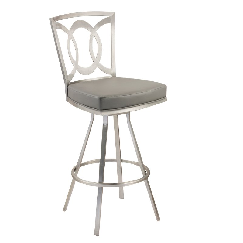 Gray Stainless Metal Counter Height Stool 26 Inch Drake