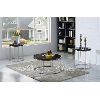 Chrome and Mocha Brown 3 Piece Coffee Table Set - Penthouse