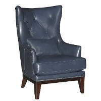Cobalt Blue Leather-Match Accent Chair and Ottoman - Brewster