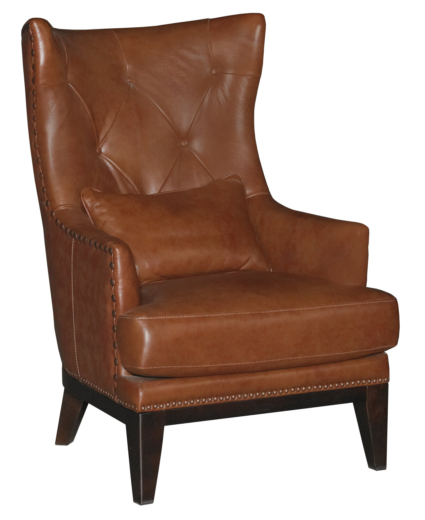 Chestnut Brown Leather Match Accent Chair Ottoman
