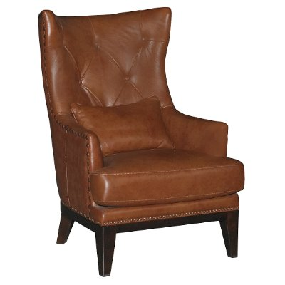 Chestnut Brown Leather Match Accent Chair   Brewster