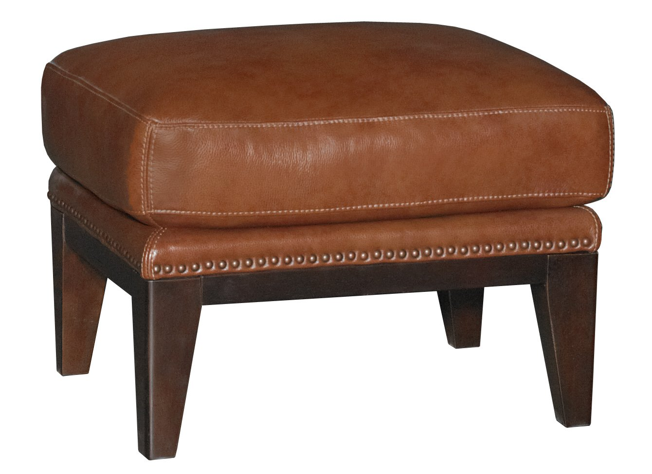 Chestnut brown leather match accent chair ottoman for Accent chair with brown leather sofa