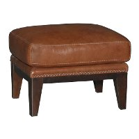 Chestnut Brown Leather-Match Ottoman - Brewster