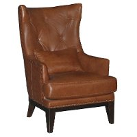 Chestnut Brown Leather-Match Accent Chair & Ottoman - Brewster