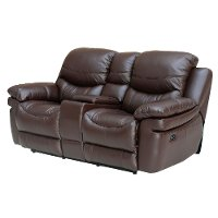 0813-2200M/B122 Brown Leather-Match Manual Reclining Loveseat - Siena Collection