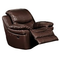 0813-1500M/B122 Brown Leather-Match Manual Recliner - Siena Collection