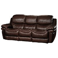 2PC0813SO/CNSLV/BRWN Brown Leather-Match Manual Reclining Sofa & Loveseat - Siena