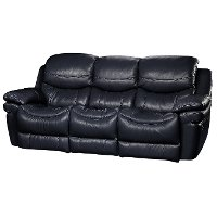 0813-3000M/B800 Black Leather-Match Manual Reclining Sofa - Siena