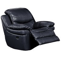 0813-1500M/B800 Black Leather-Match Manual Recliner - Siena