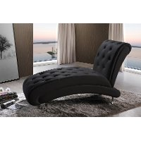 BBT5187-BLACK-CHAISE Black Button-Tufted Chaise Lounge - Pease