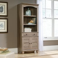 Salt Oak Bookcase with Doors - Harbor View