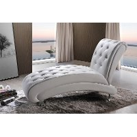 BBT5187-WHITE-CHAISE White Button-Tufted Chaise Lounge - Pease