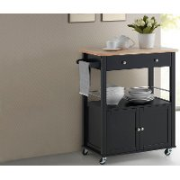 RT310-OCC Black Kitchen Cart with Wood Top - Denton
