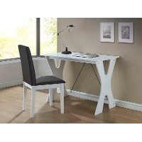 White Writing Desk & Chair Set - Cary
