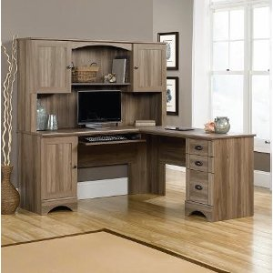 2 piece corner computer desk with hutch