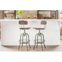 M-94144-Walnut-BS Distressed Backrest Bar Stool