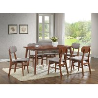 RT337-CHR-2 Wood Dining Chair Pair with Grey Faux Leather - Sacramento