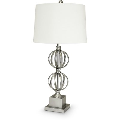 Painted Silver Double Sphere Metal Table Lamp