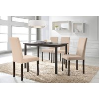 Andrew-5PC-Beige Espresso and Beige 5 Piece Dining Set - Andrew