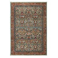 8 x 11 Large Garnet Red and Aquamarine Blue Rug - Spice Market