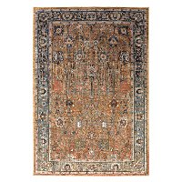 8 x 11 Large Tobacco Brown and Aquamarine Blue Rug - Spice Market