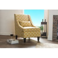 DO-6281-Yellow Shabby Chic Yellow Fabric Arm Chair - Lotus