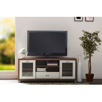 Two-Tone Walnut/ White TV Stand with Glass Doors - Matlock