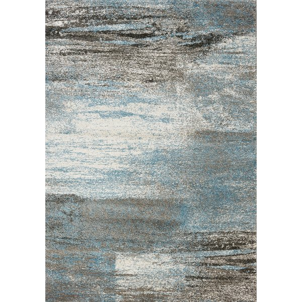 8 X 11 Large Gray And Blue Rug Breeze