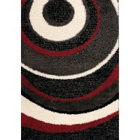 5 x 8 Medium Red and Black Area Rug - Shaggy