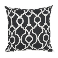 Black and White Geometric Indoor-Outdoor Throw Pillow
