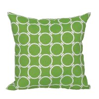Green and White Round Ring Indoor-Outdoor Throw Pillow
