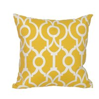 Yellow and White Geometric Indoor-Outdoor Throw Pillow