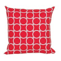 Red and White Round Ring Indoor/Outdoor Throw Pillow