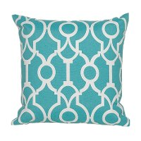 Teal and White Geometric Indoor-Outdoor Throw Pillow