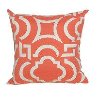 Orange and White Modern Indoor/Outdoor Throw Pillow