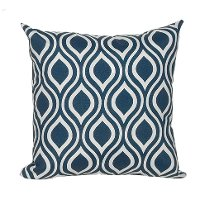 Navy and White Patterned Indoor-Outdoor Throw Pillow
