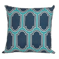Teal, Navy and White Indoor-Outdoor Throw Pillow