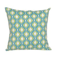 Teal, Green and White Indoor/Outdoor Throw Pillow