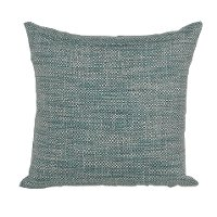 Teal, White and Navy Woven Indoor-Outdoor Throw Pillow