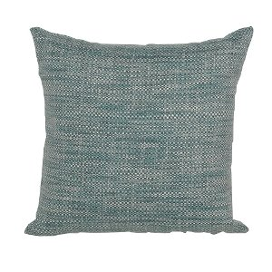 teal white and navy woven throw pillow