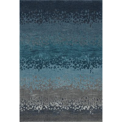 8 X 11 Large Ombre Blue And Gray Area Rug