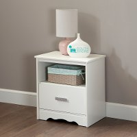 9059062 White 1-Drawer Nightstand - Tiara