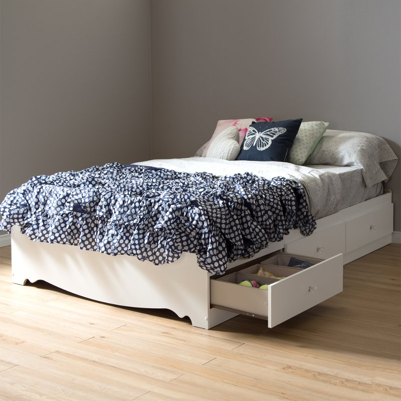 White Full Size Mates Bed with 3 Drawers (54 Inch) - Crystal