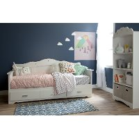 10003 White Twin Daybed with Storage - Tiara