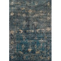 5 x 8 Medium Teal and Charcoal Gray Area Rug - Antiquity