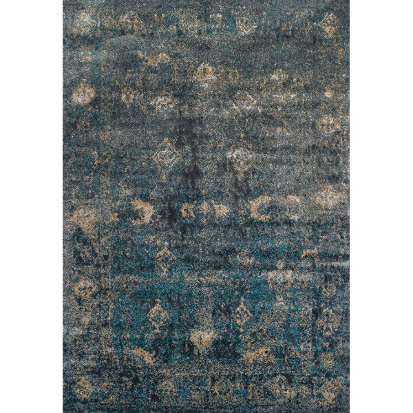 8 X 11 Large Teal And Charcoal Gray Area Rug Antiquity