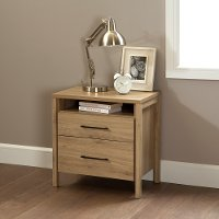 9068060 Rustic Oak 2-Drawer Night Stand - Gravity